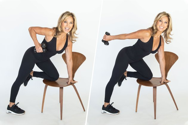 Denise Austin performing triceps kickback exercise.