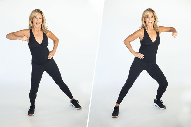 Denise Austin performing elbow strikes.