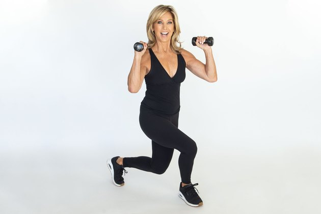 Denise Austin performing back lunge.