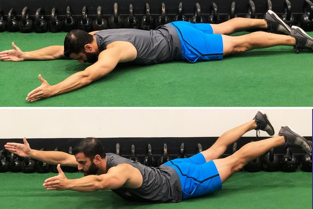 Man Doing Superman During 20-Minute HIIT Workout