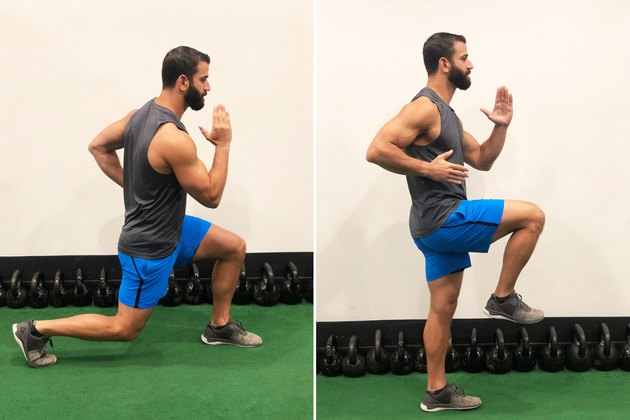 Man Doing Reverse Lunge to Balance During 20-Minute HIIT Workout