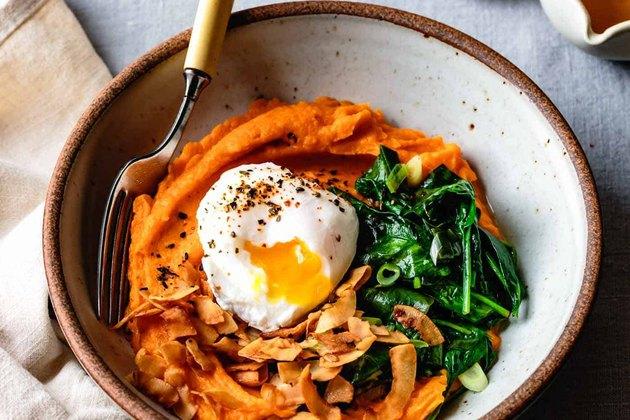 Sweet Potato Breakfast Bowl With Eggs & Greens