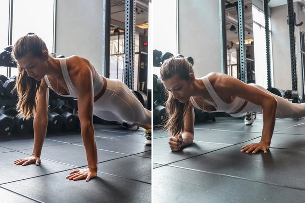 Woman doing Plank Up Down during a HIIT cardio workout