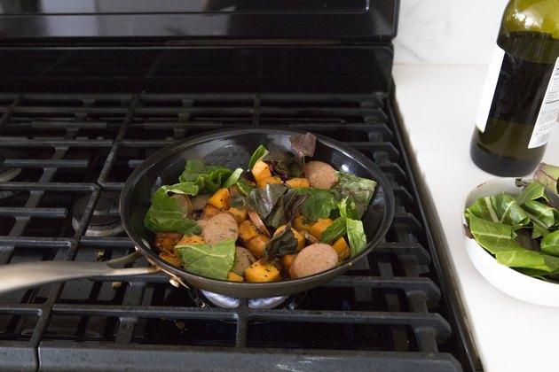 sweet potato hash cooking in pan