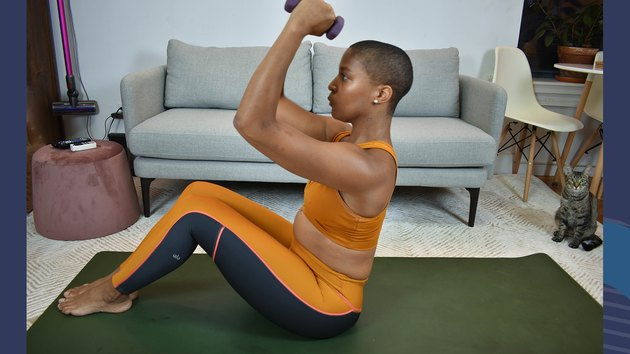 Move 14: Roll Down With Biceps Curl