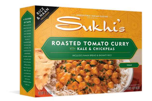 Sukhi's Roasted Tomato Curry with Kale & Chickpeas is a frozen meal that gets its main source of protein from chickpeas.