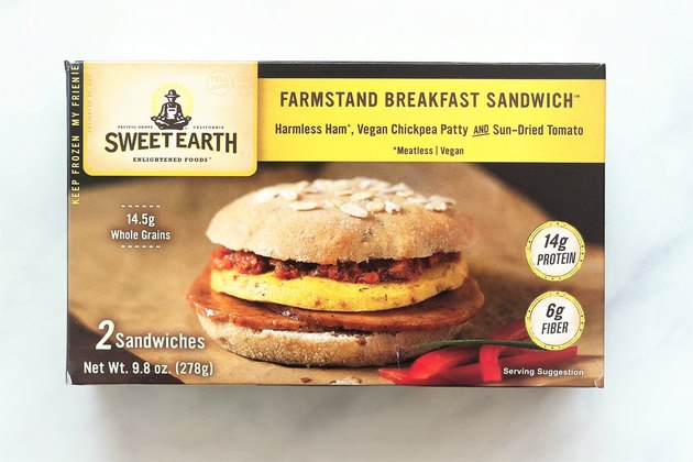 Sweet Earth Farmstand Breakfast Sandwich is a frozen vegan breakfast sandwich that gets its main sources of protein from organic soybeans, chickpea flour, and vital wheat gluten.
