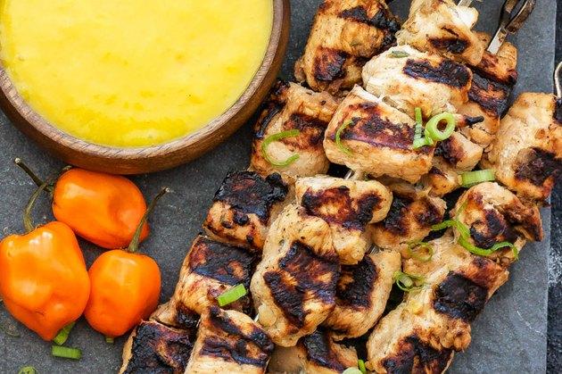 Jerk Chicken Skewers with Mango Habanero Sauce