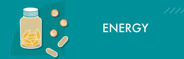 Energy vitamins on teal background