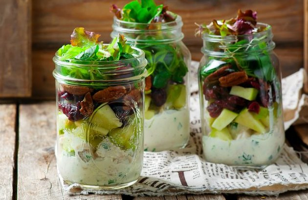 Chicken Apple and Cashew mason jar salad