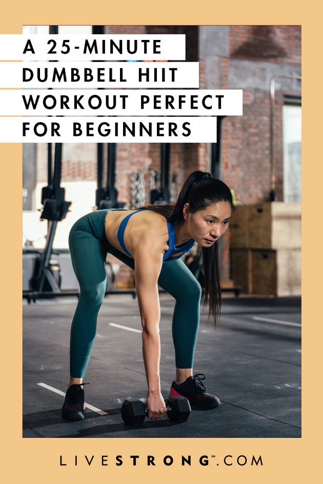 25-minute HIIT dumbbell HIIT workout for beginners graphic