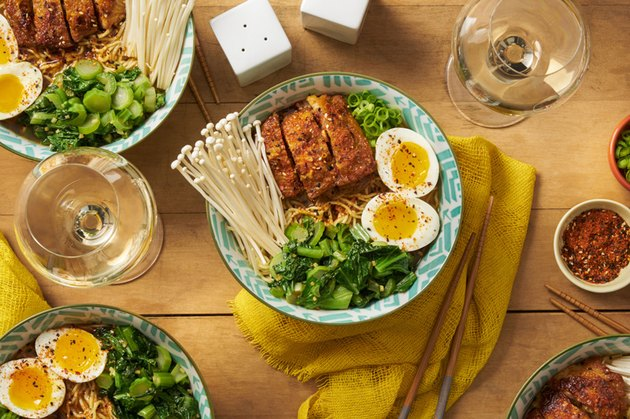 A top-down shot of a Blue Apron meal