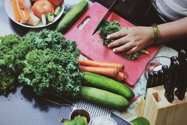 beautiful vegetables being chopped