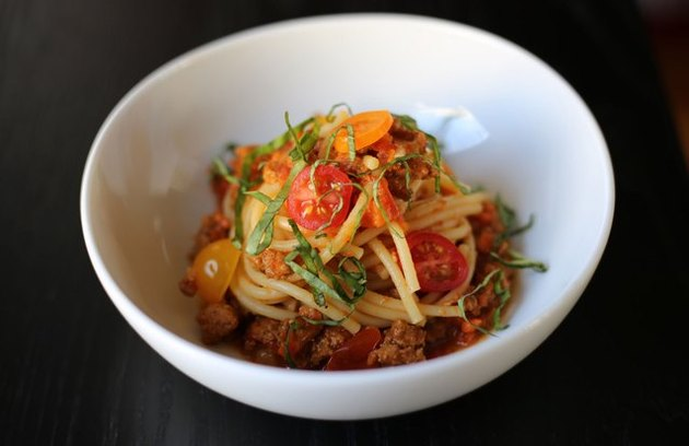 Bowl of pasta with turkey bolognese sauce.