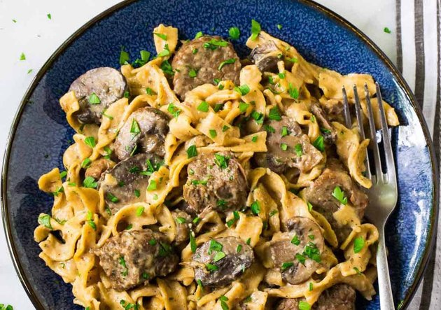 Bowl of beef and noodles for beef stroganoff.