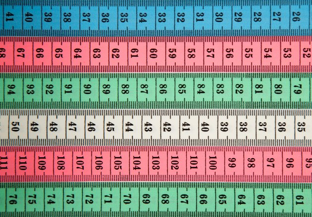 Close view of several colorful measuring tapes