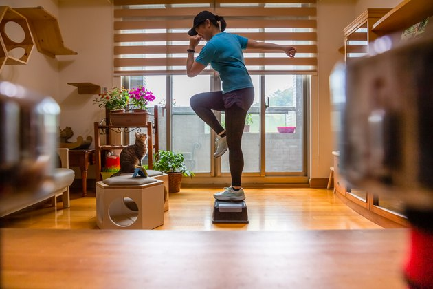 Woman Doing a Step Aerobics Workout at Home