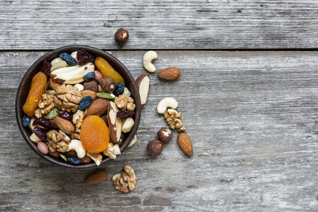 mixed nuts and dried fruits in a bowl