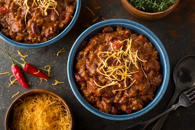 Top view of a bowl of spicy chili as a food to avoid as a natural remedy for diarrhea
