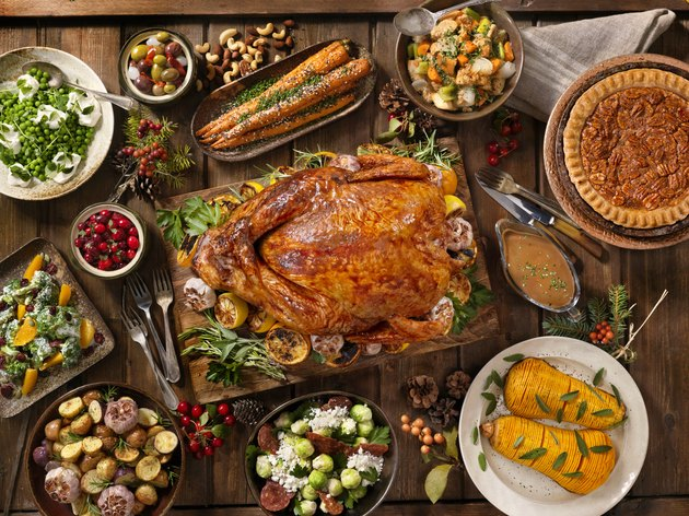 Top view of a table set with holiday food
