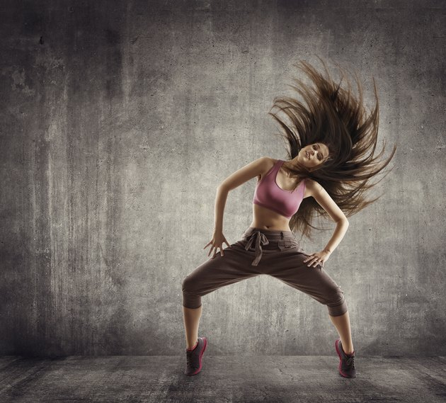 Fitness Sport Dance, Woman Dancer Flying Hair Dancing on Concrete