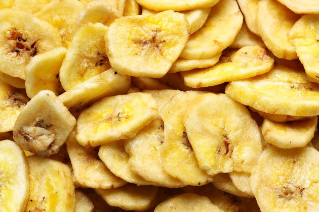 Dried banana slices background