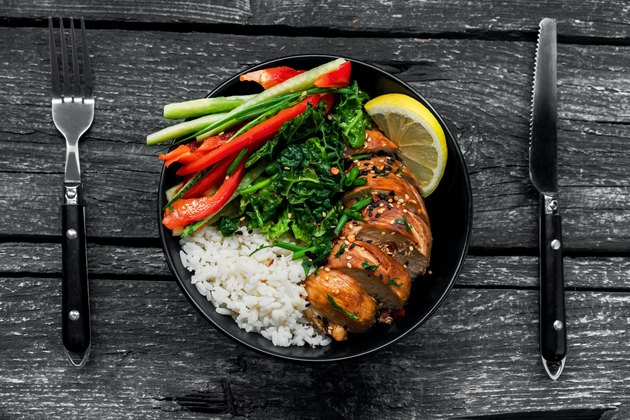 Teriyaki chicken with rice and salad