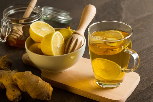 Hot tea with ginger honey and lemon