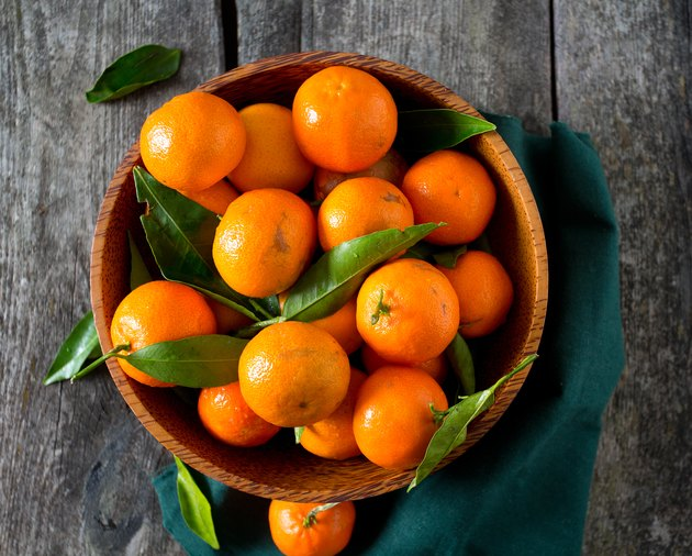mandarins in a wooden bowl