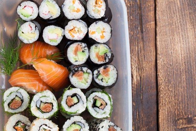 Sushi in a plastic box