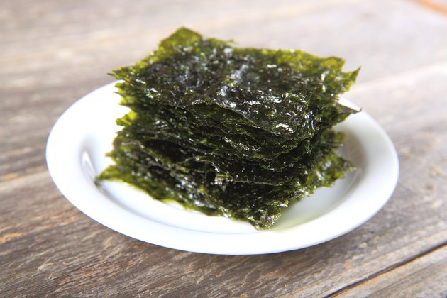 Dried seaweed on white plate