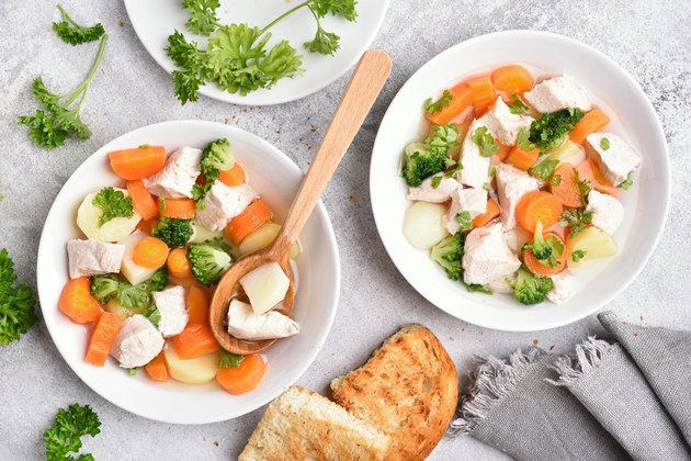 Soup from vegetable and boiled chicken breast