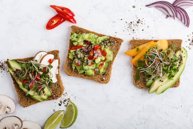 Plant based colorful vegan snack, variety of avocado toasts
