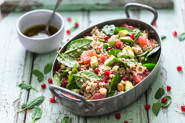 Winter Salad with Quinoa, Avocado, Blood Orange, Pomegranate, Bulgur, Hazelnuts