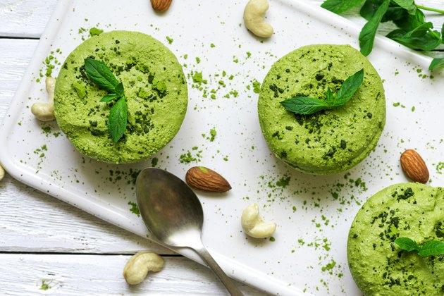 green matcha vegan raw cakes with mint and nuts matcha dessert