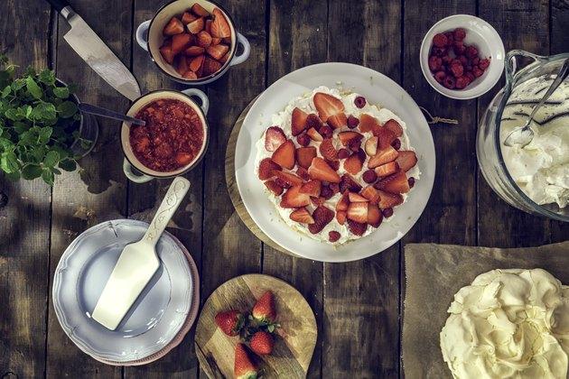 No bake desserts Berry Pavlova Cake with Strawberries and Raspberries