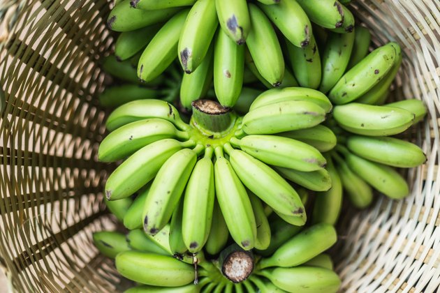 High Angle View Of Bananas For Sale In Basket