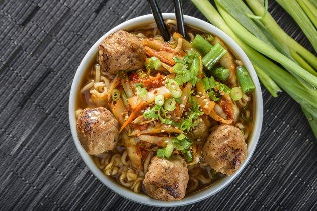 Meatball and Kimchi Ramen