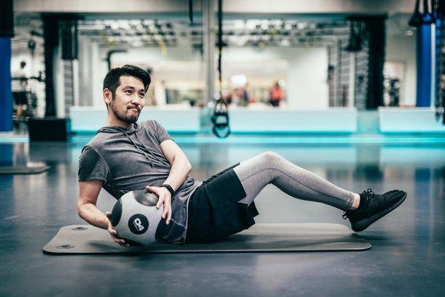Japanese man trains with medicine ball