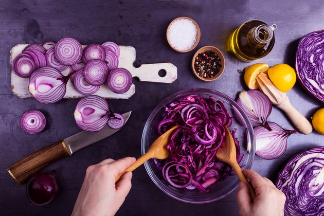 Ultra violet. Preparation of vegetables salad