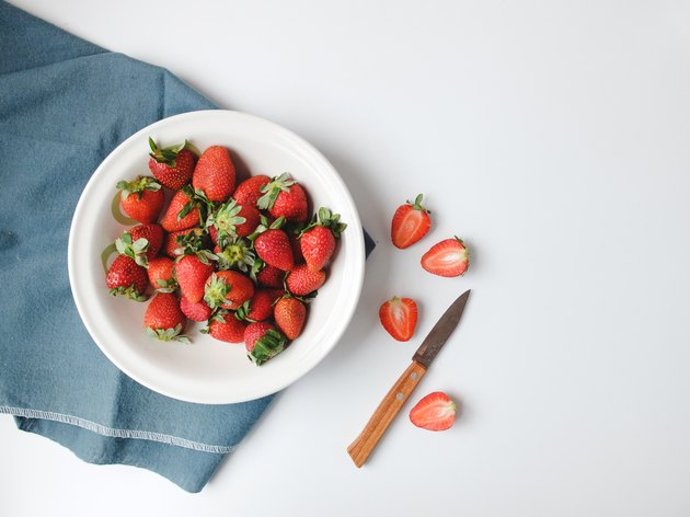 High Angle View Of Strawberries At Table