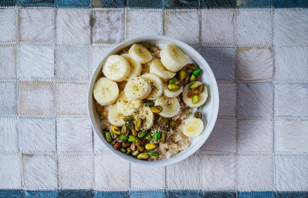 Breakfast: oatmeal with bananas, nuts, hemp seeds and hemp milk.