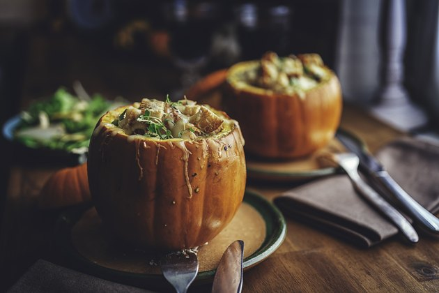 Pumpkin Risotto Baked with Cheese in a Pumpkin