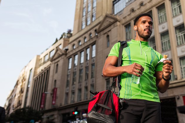 Young man walking around the city wearing sportswear