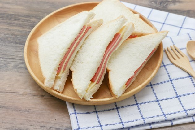Sandwich with ham cheese on white bread