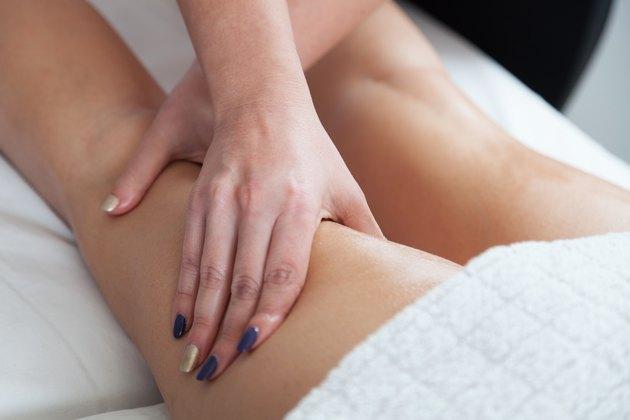 Beautiful woman  getting a back massage
