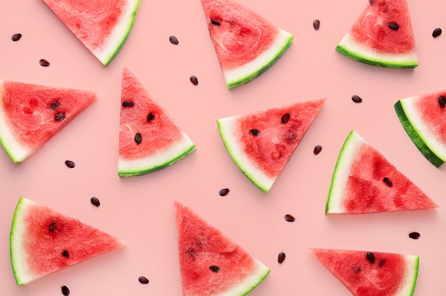 Watermelon nutrition slices pattern viewed from above. Top view. Summer concept.