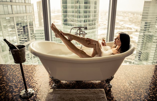 Beautiful woman in the jacuzzi