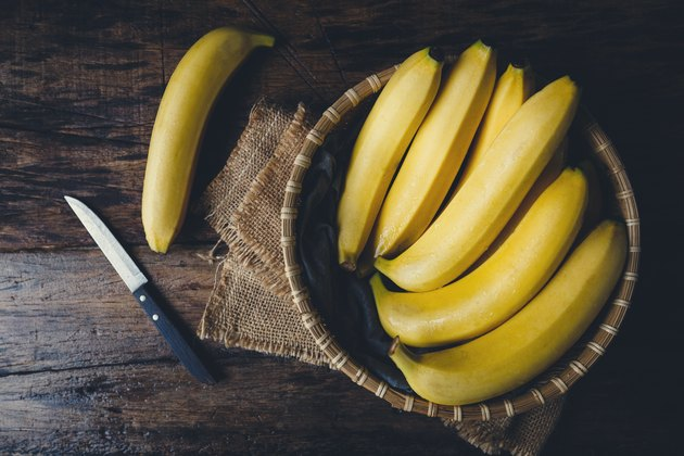 Directly Above Shot Of Bananas In Basket On Table