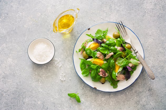 Mediterranean-style salad with lettuce, tuna, chicken eggs